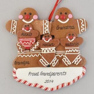 Grandma and Grandpa of Three Gingerbread Sweeties Personalized christmas Ornaments