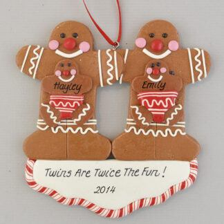 Twins Are Twice the Fun Gingerbread Family Personalized christmas Ornaments