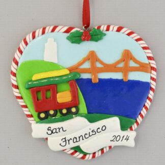 San Francisco Golden Gate Bridge and Cable Car personalized christmas Ornaments