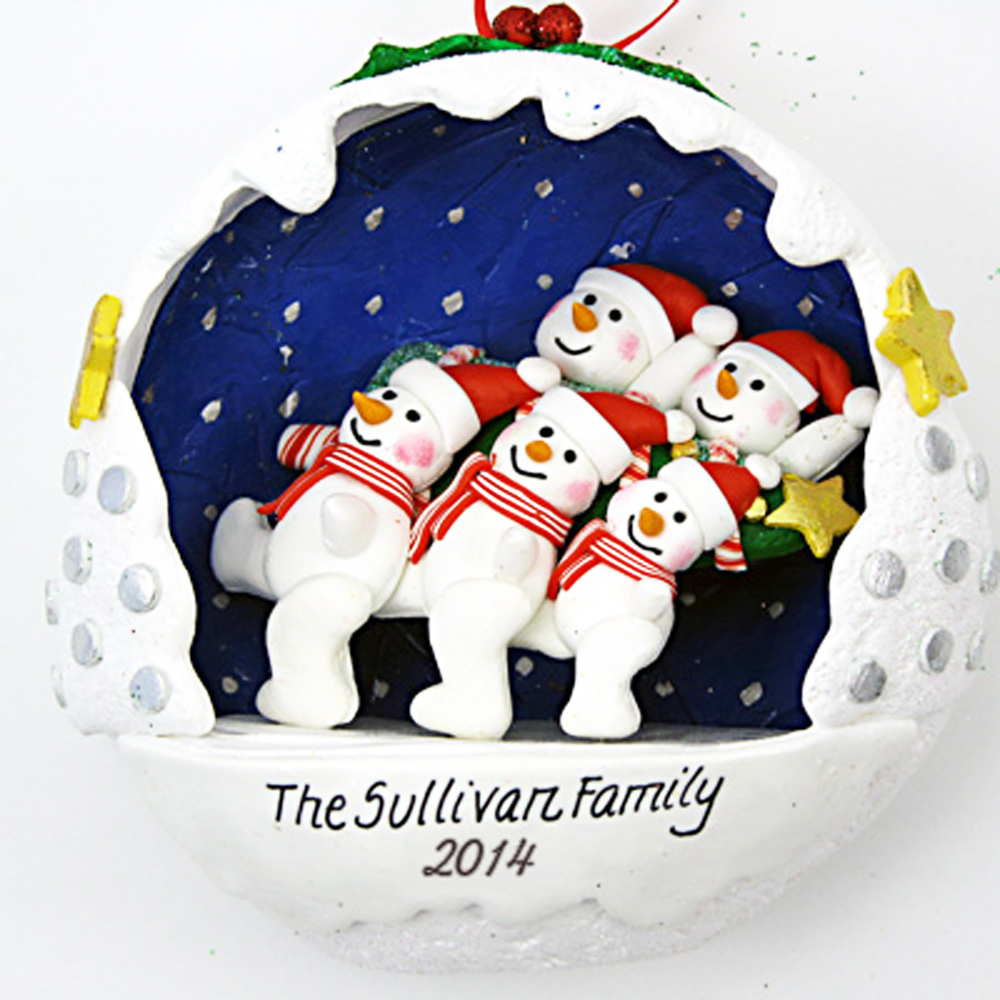 Snowball Family with Tree personalized christmas Ornaments