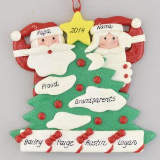 Personalized Tree with 4 Gifts Grandparents Christmas Ornaments