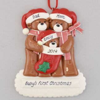 Baby Bear's First Christmas personalized Ornaments