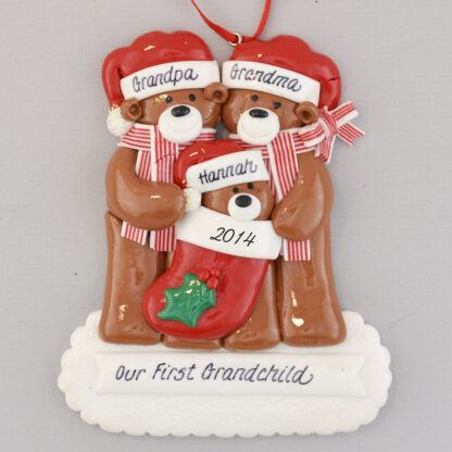 Grandpa and Grandma with Grandchild Personalized christmas Ornaments