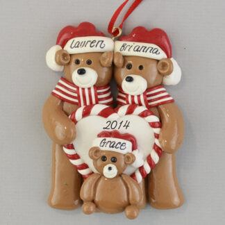 Bear Family of Three Personalized christmas Ornaments