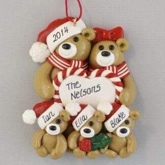Bear Couple with Heart with Three Babies Personalized christmas Ornaments