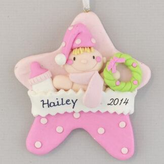 Pink Baby Girl Star personalized christmas Ornaments