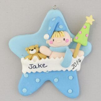 Blue Baby Boy Star personalized Christmas Ornaments