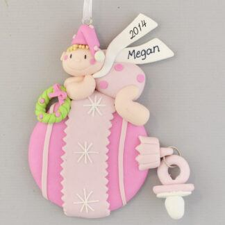 Pink Baby Ball for Little Girl Personalized christmas Ornaments