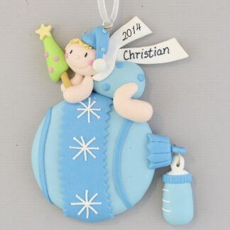 Blue Baby Ball for Little Boy Personalized christmas Ornaments
