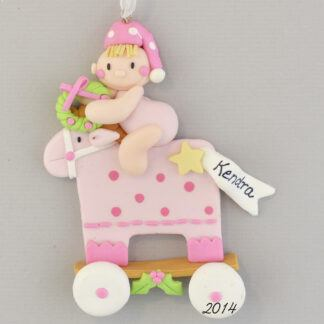 Pink Baby Girl Rocking Horse Personalized christmas Ornaments