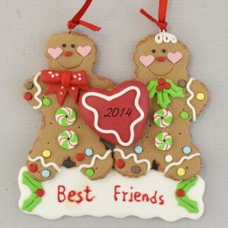 Best Friends Gingerbread Pair Personalized christmas Ornaments