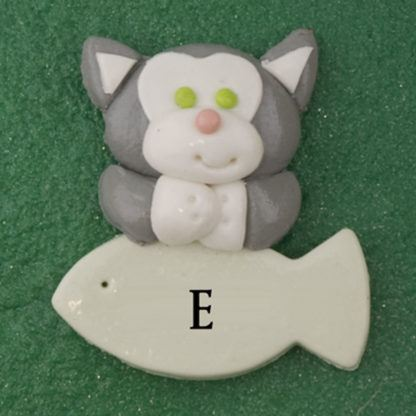 Pet cat gray with fish personalized christmas ornaments