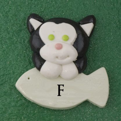 Pet cat black with fish personalized christmas ornaments