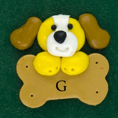 Pet dog yellow with bone personalized christmas ornaments