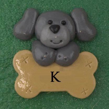 Pet dog gray with bone personalized christmas ornaments