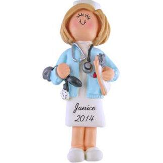 Nurse Personalized Christmas Ornaments - Female Blonde