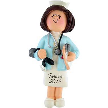 Nurse Personalized christmas Ornaments Female Brunette