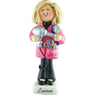 Hairdresser Personalized christmas Ornaments Female Blonde