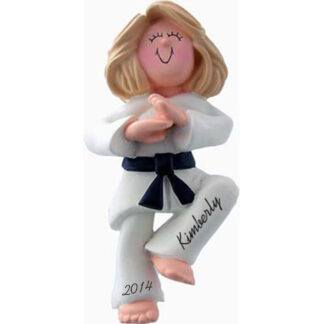 Karate Girl Blonde Personalized Ornaments