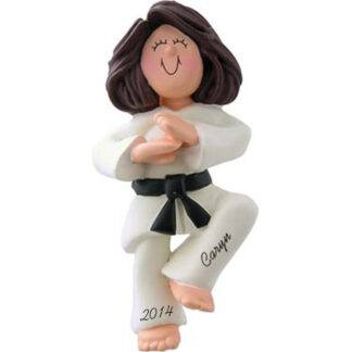 Karate Girl Brunette Personalized Ornaments