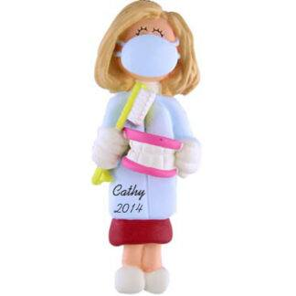 Dentist/Hygienist Personalized Christmas Ornament Female Blonde