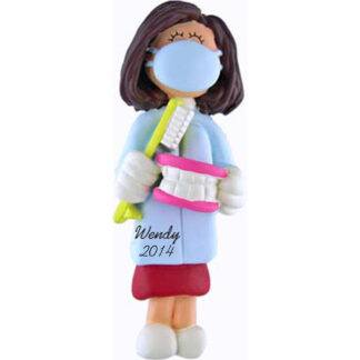 Dentist/Hygienist Personalized Christmas Ornaments Female Brunette