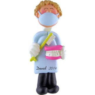 Dentist Personalized Christmas Ornaments Male Blonde