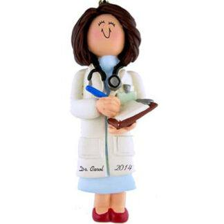 Doctor/Physician Personalized Christmas Ornaments Female Brunette