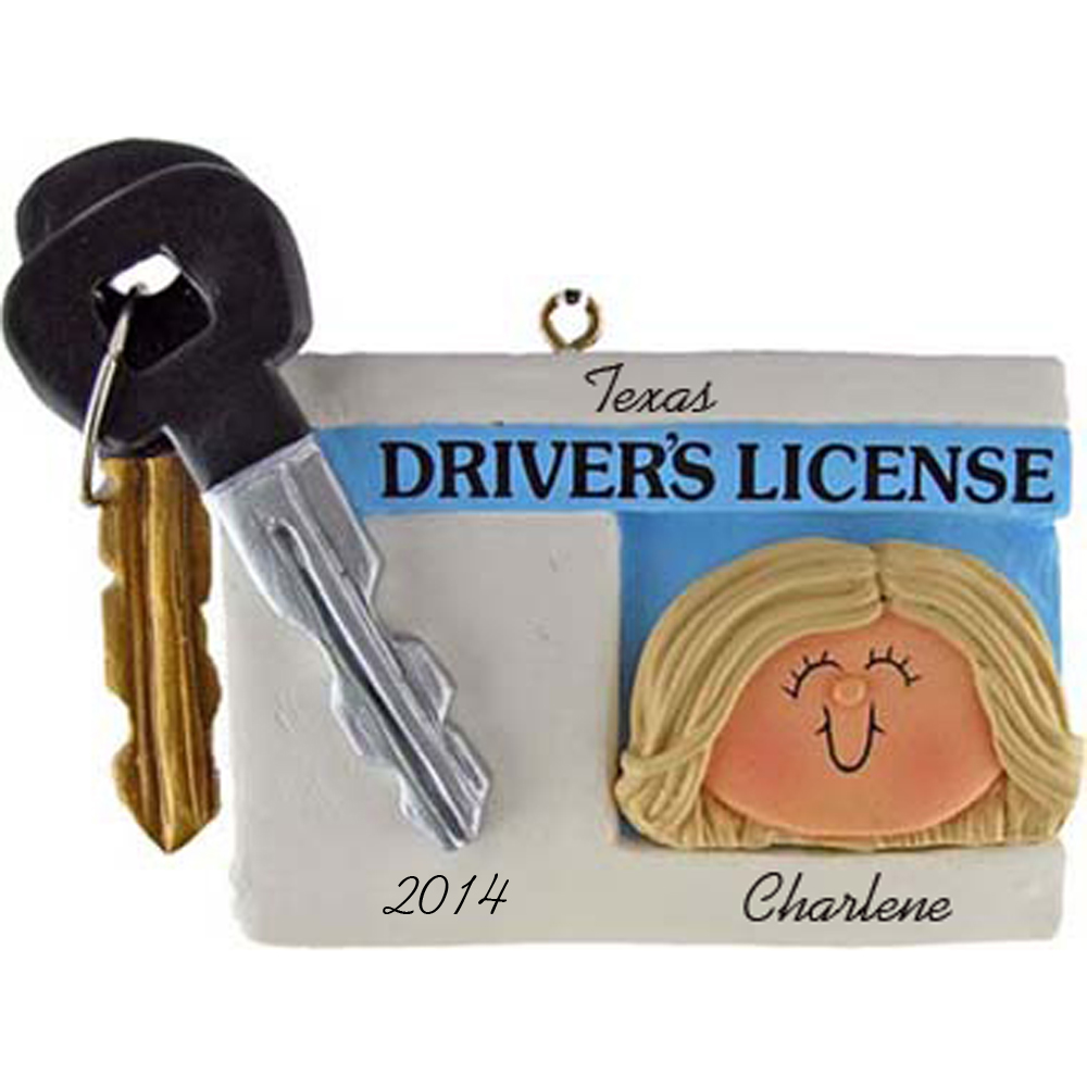 Driver's License Personalized Christmas Ornaments Female Blonde
