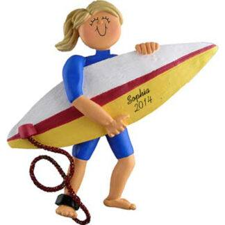 Surfer Girl Blonde Personalized Christmas Ornaments