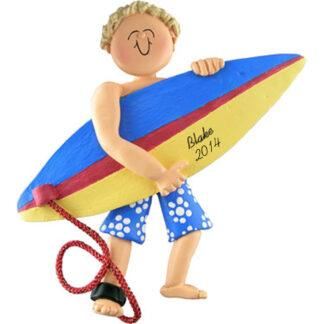 Surfer Boy Blonde Personalized Christmas Ornaments