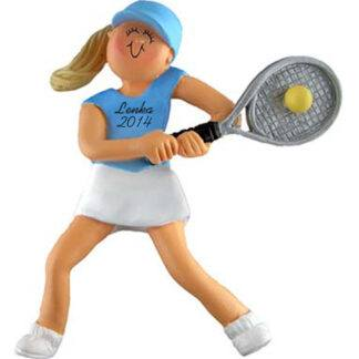Tennis Girl Blonde Personalized Christmas Ornaments