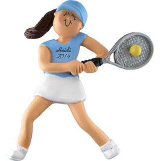 Tennis Girl Brunette Personalized Christmas Ornaments