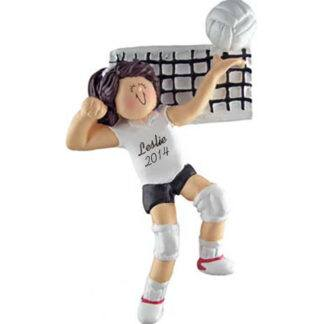 Volleyball Girl Brunette Personalized Ornaments