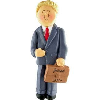 Professional/Businessman Blonde Personalized Christmas Ornaments