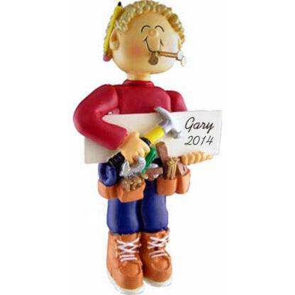 Carpenter Male Blonde Personalized Christmas Ornaments