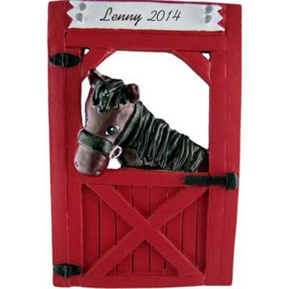 Horse (Black) in Stable Personalized Christmas Ornaments