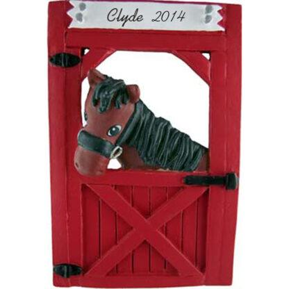 Horse (Brown) in Stable Personalized Christmas Ornaments