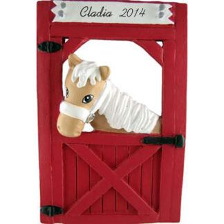 Horse (Tan) in Stable Personalized Christmas Ornaments