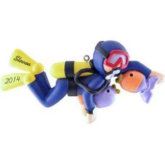 Scuba Diver Male Personalized Christmas Ornaments