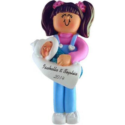 Big Sister Brunette Personalized christmas Ornaments