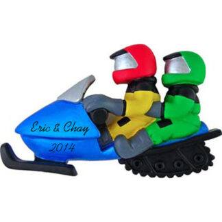 Snowmobile Couple Personalized Christmas Ornaments