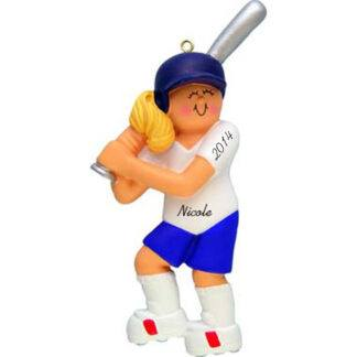 Softball Girl Blonde Personalized christmas Ornaments