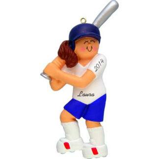 Softball Girl Brunette Personalized christmas Ornaments