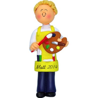 Artist Male Blonde Personalized Christmas Ornaments