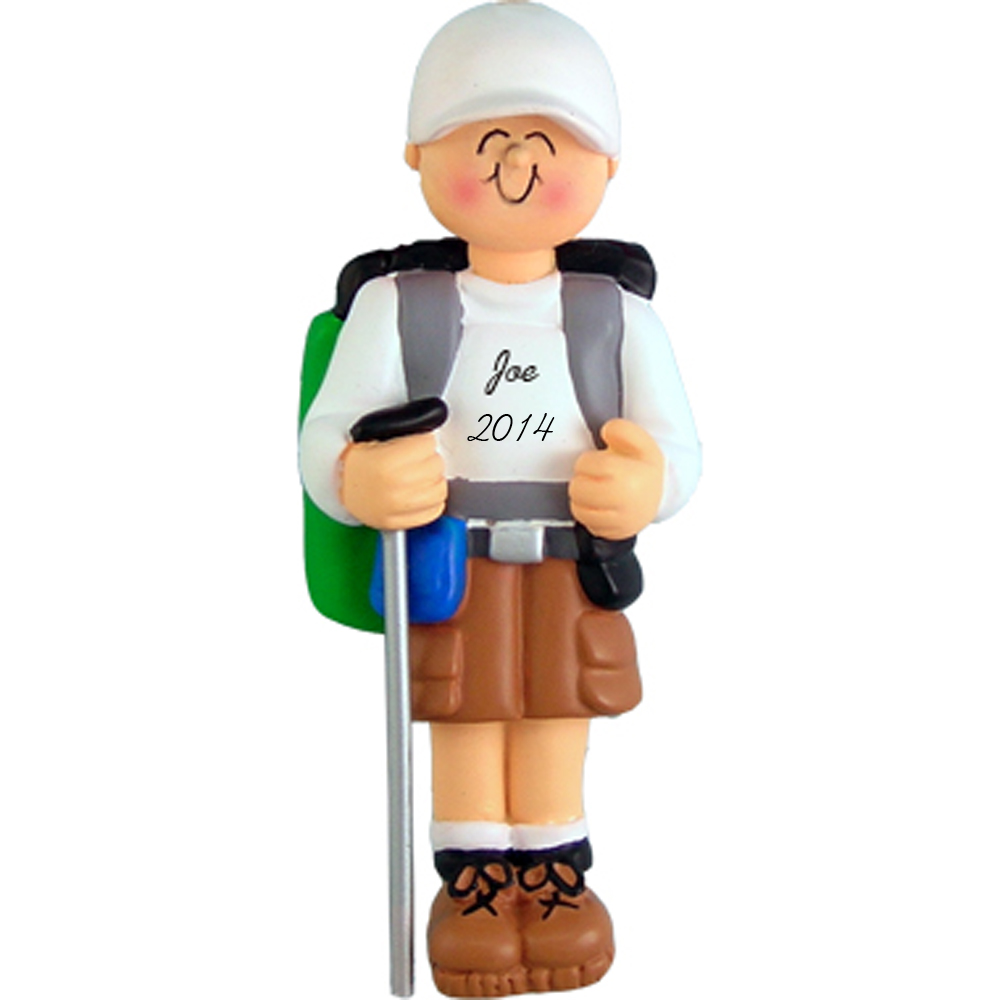 Hiker Boy Personalized Christmas Ornaments