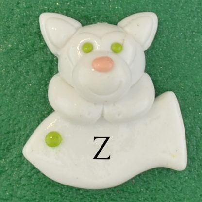 Pet cat white with fish personalized christmas ornaments