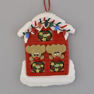 House with Lights Two Reindeer personalized christmas ornaments
