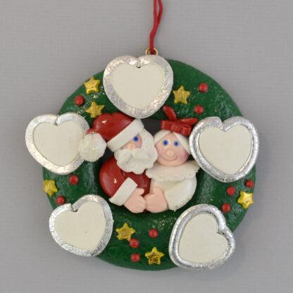 Wreath - 5 Hearts personalized christmas ornaments