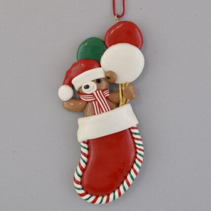 Bear in Red Stocking with Balloons personalized christmas ornaments